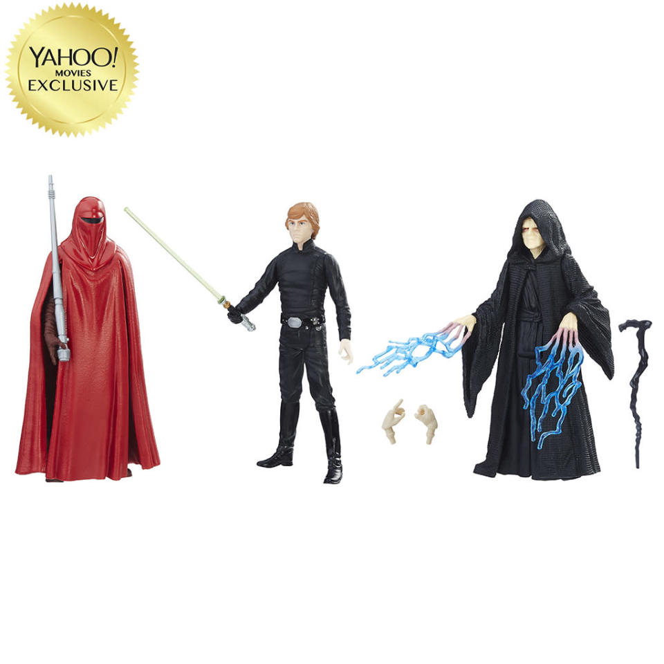 <p>Features Luke Skywalker, Emperor Palpatine, and Emperor's Royal Guard; Force Link device (not inlcuded) can activate movie-appropriate sound and light effects. $24.99/Target exclusive<br>(Photo: Hasbro) </p>