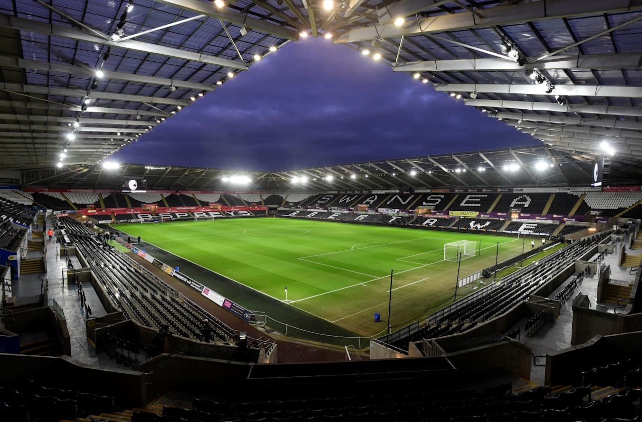 "Soccer Football - Premier League - Swansea City vs Liverpool - Liberty Stadium, Swansea, Britain - January 22, 2018   General view inside the stadium before the match    REUTERS/Rebecca Naden    EDITORIAL USE ONLY. No use with unauthorized audio, video, data, fixture lists, club/league logos or ""live"" services. Online in-match use limited to 75 images, no video emulation. No use in betting, games or single club/league/player publications.  Please contact your account representative for further details."