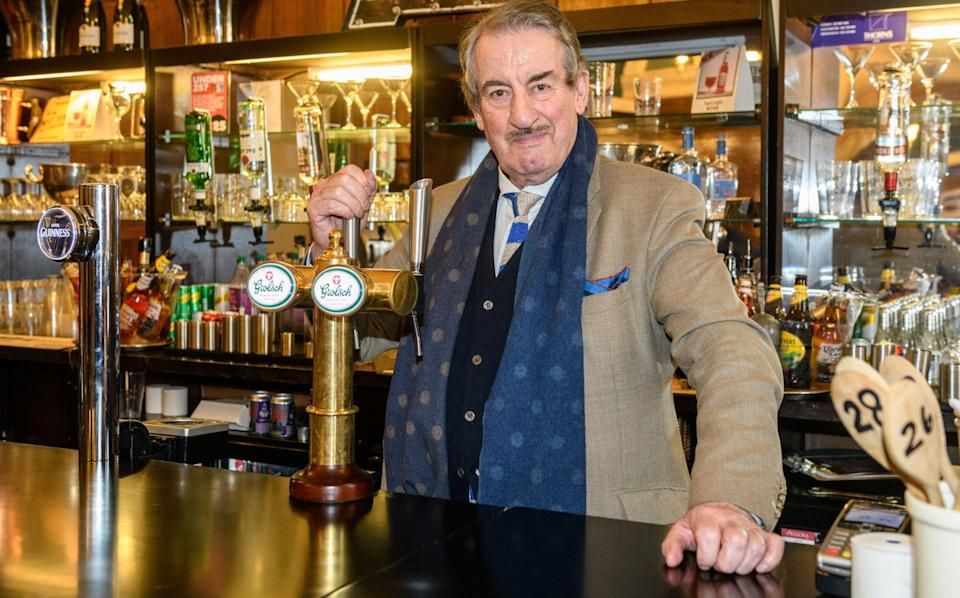 The character of Boycie proved enduringly popular: here Challis reprises his role for a pub quiz at the Ideal Home Show at Olympia, 2019 - James McCauley/Shutterstock