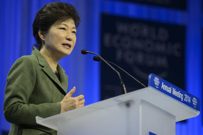 South Korean President Park Geun-hye speaks during a panel session on the first day of the 44. Annual Meeting of the World Economic Forum, WEF, in Davos, Switzerland, Wednesday, Jan. 22, 2014. (AP Photo/Keystone,Laurent Gillieron)