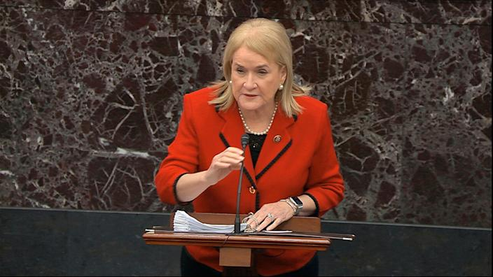 In this image from video, House impeachment manager Rep. Sylvia Garcia, D-Texas, speaks during the impeachment trial against President Donald Trump in the Senate at the U.S. Capitol in Washington, Thursday, Jan. 23, 2020. (Senate Television via AP) ORG XMIT: DCJE152