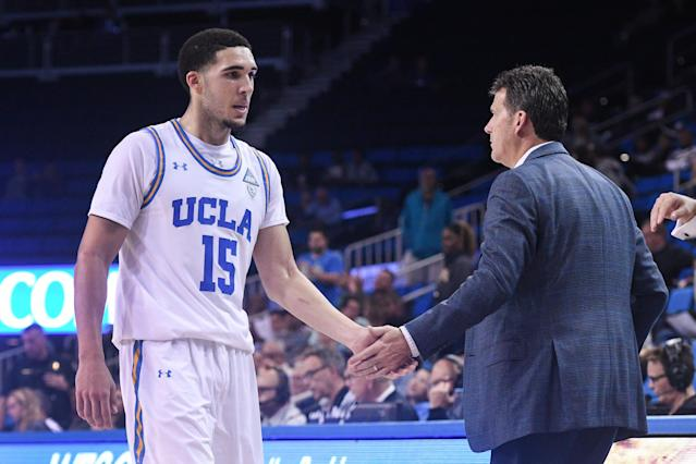 The arrest of LiAngelo Ball (pictured with UCLA Coach Steve Alford) became the butt of relentless jokes from TNT's analysts. (Icon Sportswire via Getty Images)