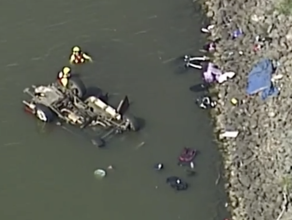 The family of six plunged into the dam on their way home to Pratten. Source: Nine News