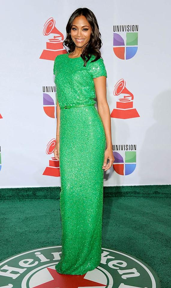 Zoe Saldana was gorgeous in a green sequined Elie Saab gown. (11/10/2011)