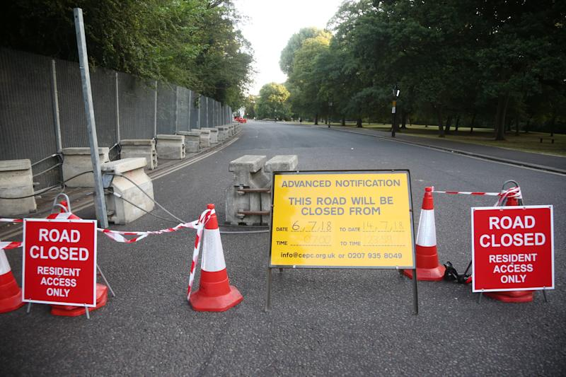 A road is closed as part of security preparations near the U.S. Ambassador's residence Winfield House, in Regent's Park, London, ahead of Trump's visit to the U.K.  (Yui Mok - PA Images via Getty Images)