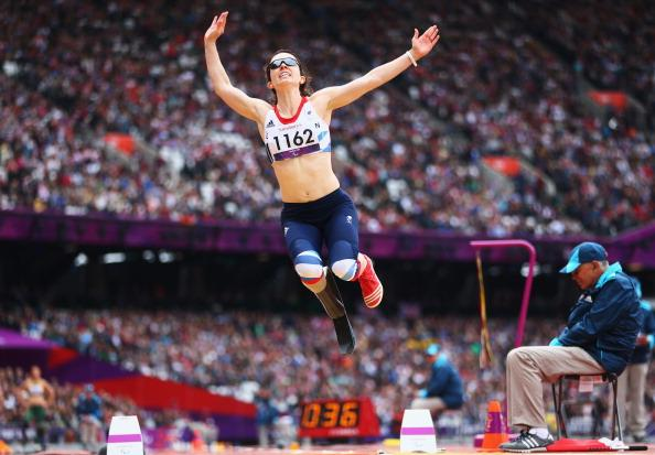 Stef Reid of Great Britain competes in the Women's Long Jump - F42/44 Final on day 4 of the London 2012 Paralympic Games at Olympic Stadium on September 2, 2012 in London, England. (Photo by Michael Steele/Getty Images)