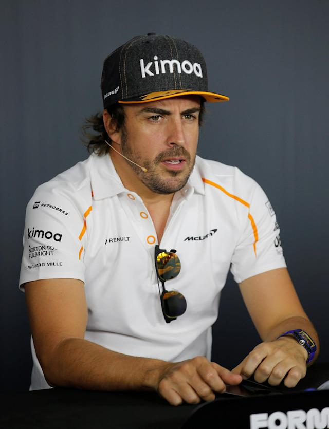 Formula One F1 - French Grand Prix - Circuit Paul Ricard, Le Castellet, France - June 21, 2018 McLaren's Fernando Alonso during the press conference REUTERS/Jean-Paul Pelissier