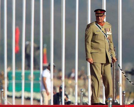 Pakistan's Army Chief of Staff Lieutenant General Qamar Javed Bajwa arrives to attend the Pakistan Day military parade in Islamabad