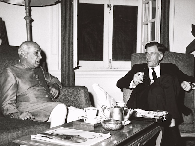 Prime Minister of India Jawaharlal Nehru and john kenneth galbraith