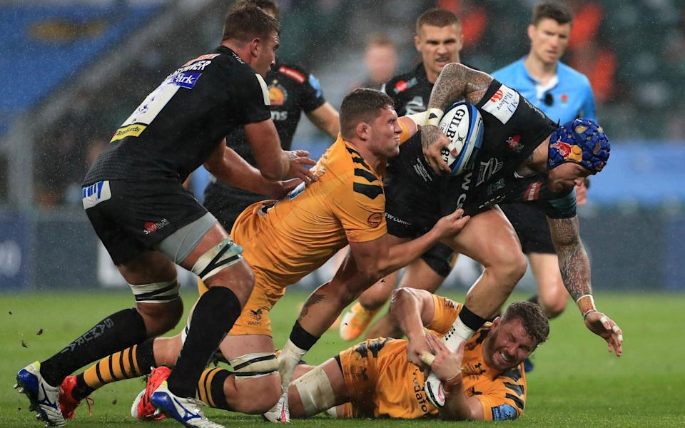 Jack Willis attempts to stop Jack Nowell - PA
