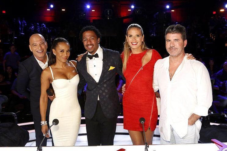 Howie Mandel, Mel B, Nick Cannon, Heidi Klum, and Simon Cowell on <em>America's Got Talent</em>.