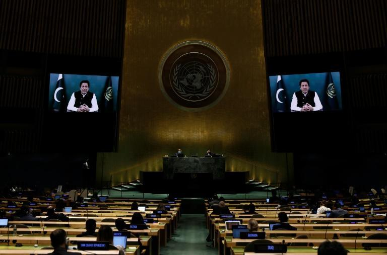 Pakistani Prime Minister Imran Khan addresses the UN General Assembly by video (AFP/PETER FOLEY)