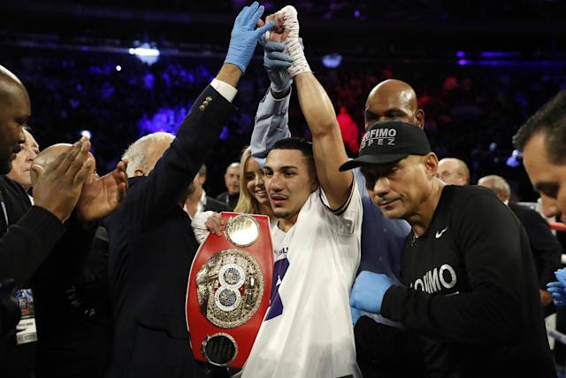 Lopez was crowned the new IBF champion on the same card. (AP)