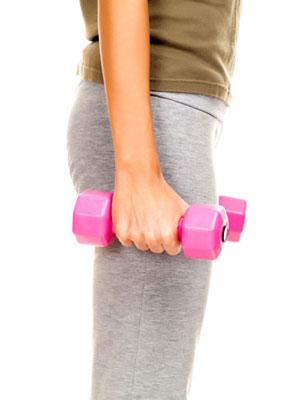 """<div class=""""caption-credit""""> Photo by: Getty Images/iStockphoto</div><div class=""""caption-title"""">The Cheerleader</div>Grab a pair of dumbbells and stand tall with your chest up and shoulders down. Your arms should be straight at your sides, palms facing away from you. Keeping your elbows in line with your body, curl the dumbbells up to your shoulders. (Your palms should now be facing you.) Then rotate your palms so they face away again, and press the weights above your head, maintaining a space between your shoulders and ears. Slowly return to starting position by reversing the movement-the dumbbells should take the same path down as they took up. Complete three sets of 10-12 reps. <br> <br> Targets: Biceps & Shoulders <br> <br> <b>Related: <a rel=""""nofollow"""" href=""""http://www.cosmopolitan.com/advice/health/drop-5-pounds-in-a-week-0509?link=emb&dom=yah_life&src=syn&con=blog_cosmo&mag=cos"""" target=""""_blank"""">Drop 5 Pounds in a Week</a></b> <br> <b>Related: <a rel=""""nofollow"""" href=""""http://www.cosmopolitan.com/advice/health/right-way-to-lose-weight?link=emb&dom=yah_life&src=syn&con=blog_cosmo&mag=cos"""" target=""""_blank"""">The Right Way to Lose<</a></a></b>"""