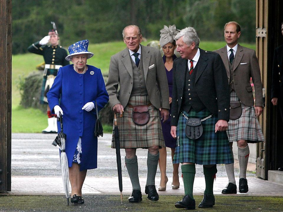 The Queen and Prince Philip attend a garden party at Balmoral Castle in August 2012AFP/Getty