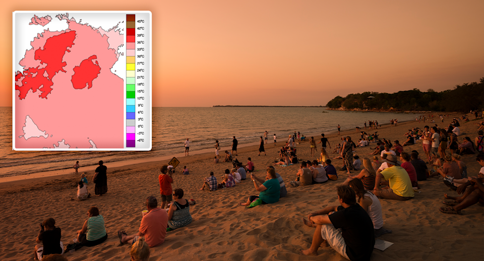 Main image shows people on a Northern Territory beach. The inset shows a heat impact map of the Northern Territory. Source: Getty / BOM