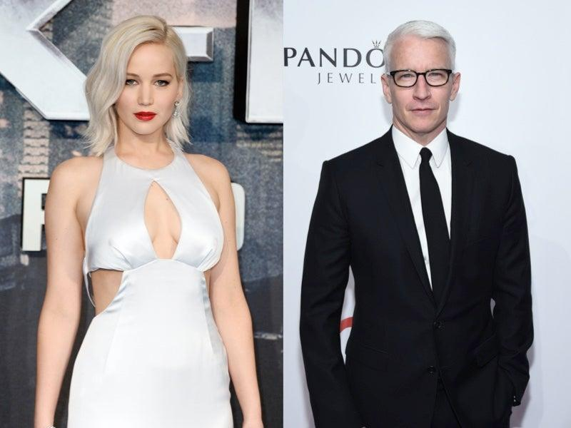 Jennifer Lawrence confronted Anderson Cooper after he said she faked Oscars fall (Getty)