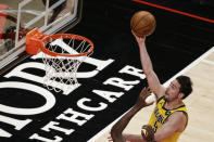 Indiana Pacers guard T.J. McConnell shoots against the Atlanta Hawks during the third quarter of an NBA basketball game Saturday, Feb. 13, 2021, in Atlanta. (AP Photo/Butch Dill)