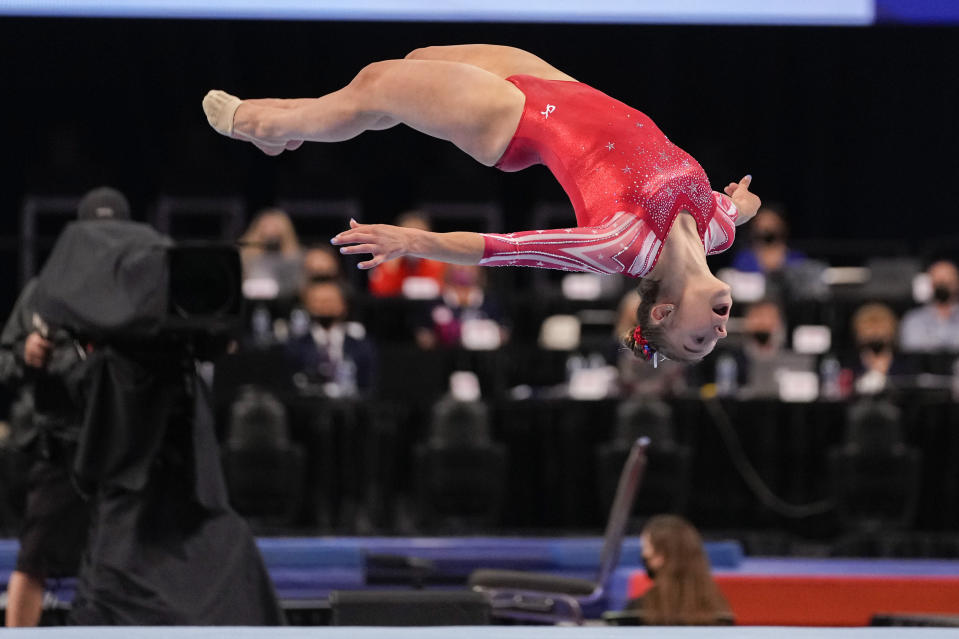 Grace McCallum competes in the floor exercise during the women's U.S. Olympic Gymnastics Trials Sunday, June 27, 2021, in St. Louis. (AP Photo/Jeff Roberson)