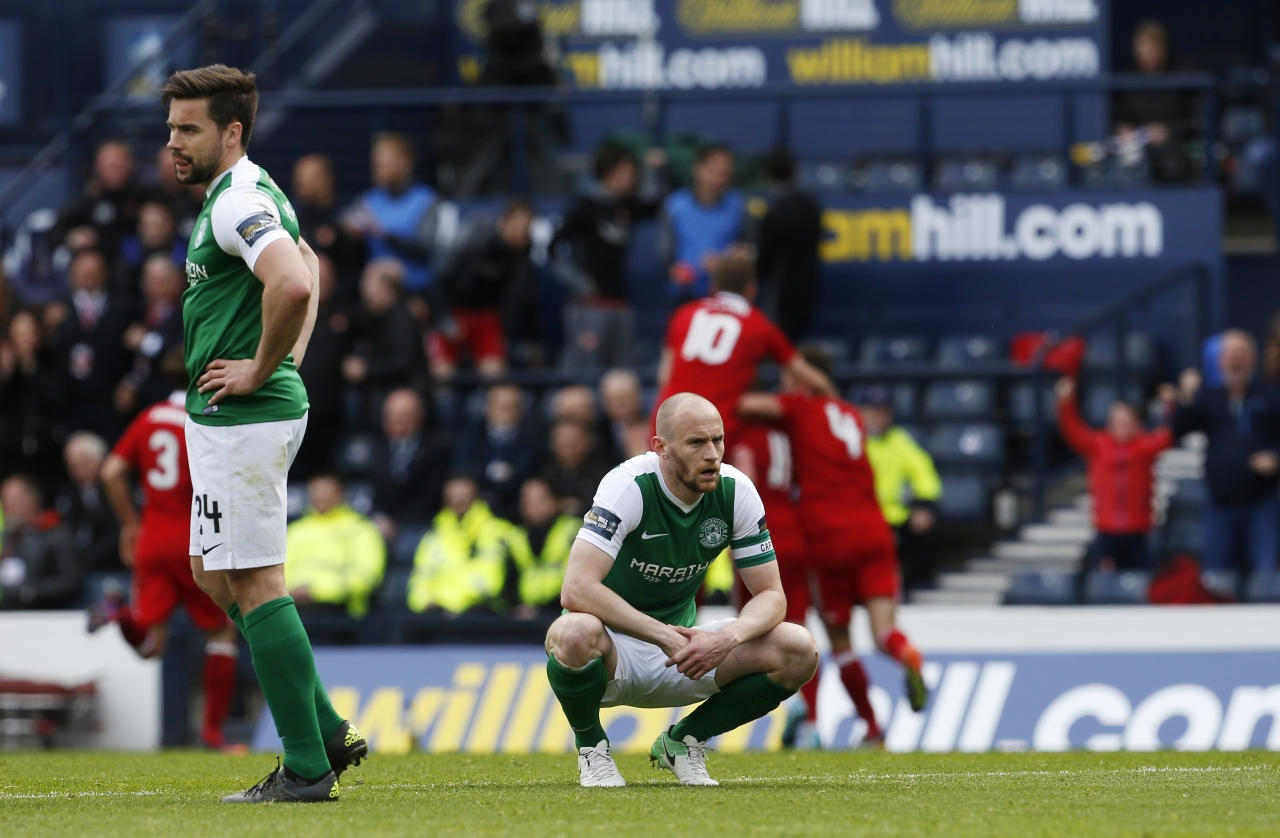 "Britain Soccer Football - Hibernian v Aberdeen - Scottish Cup Semi Final - Hampden Park, Glasgow, Scotland - 22/4/17 Hibernian's Darren McGregor and David Gray look dejected after conceding the third goal Action Images via Reuters / Craig Brough Livepic EDITORIAL USE ONLY. No use with unauthorized audio, video, data, fixture lists, club/league logos or ""live"" services. Online in-match use limited to 45 images, no video emulation. No use in betting, games or single club/league/player publications.  Please contact your account representative for further details."