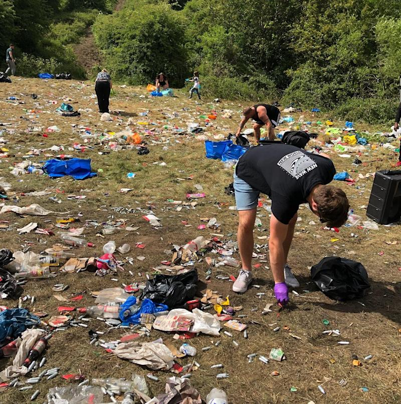 Handout photo courtesy of George Honeybee @georgiadaisy98 of the mess left behind following a rave at Daisy Nook Park in Manchester on Saturday night.