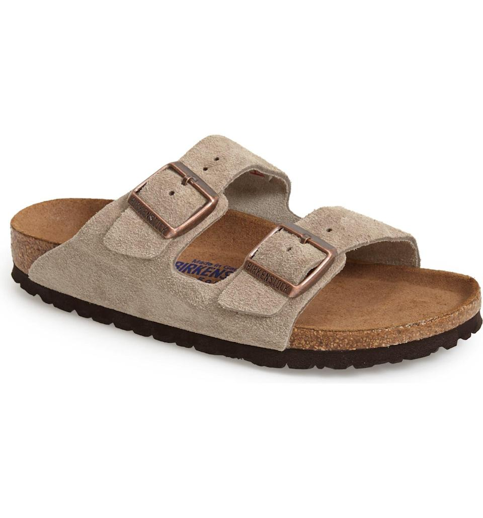 """<h2>Birkenstocks</h2><br>""""Birkenstocks, especially with socks, are a part of the perfect gay outfit because it truly exudes the 'going to pick up some bread at the farmer's market with my girlfriend' vibes."""" – <em>Andie Kent, Tik Tok Publishing Coordinator</em><br><br><em>Shop <strong><a href=""""https://www.birkenstock.com/us"""" rel=""""nofollow noopener"""" target=""""_blank"""" data-ylk=""""slk:Birkenstock"""" class=""""link rapid-noclick-resp"""">Birkenstock</a></strong></em><br><br><strong>Birkenstock</strong> Arizona Soft Slide Sandal, $, available at <a href=""""https://go.skimresources.com/?id=30283X879131&url=https%3A%2F%2Fwww.nordstrom.com%2Fs%2Fbirkenstock-arizona-soft-slide-sandal-women%2F2896765"""" rel=""""nofollow noopener"""" target=""""_blank"""" data-ylk=""""slk:Nordstrom"""" class=""""link rapid-noclick-resp"""">Nordstrom</a>"""