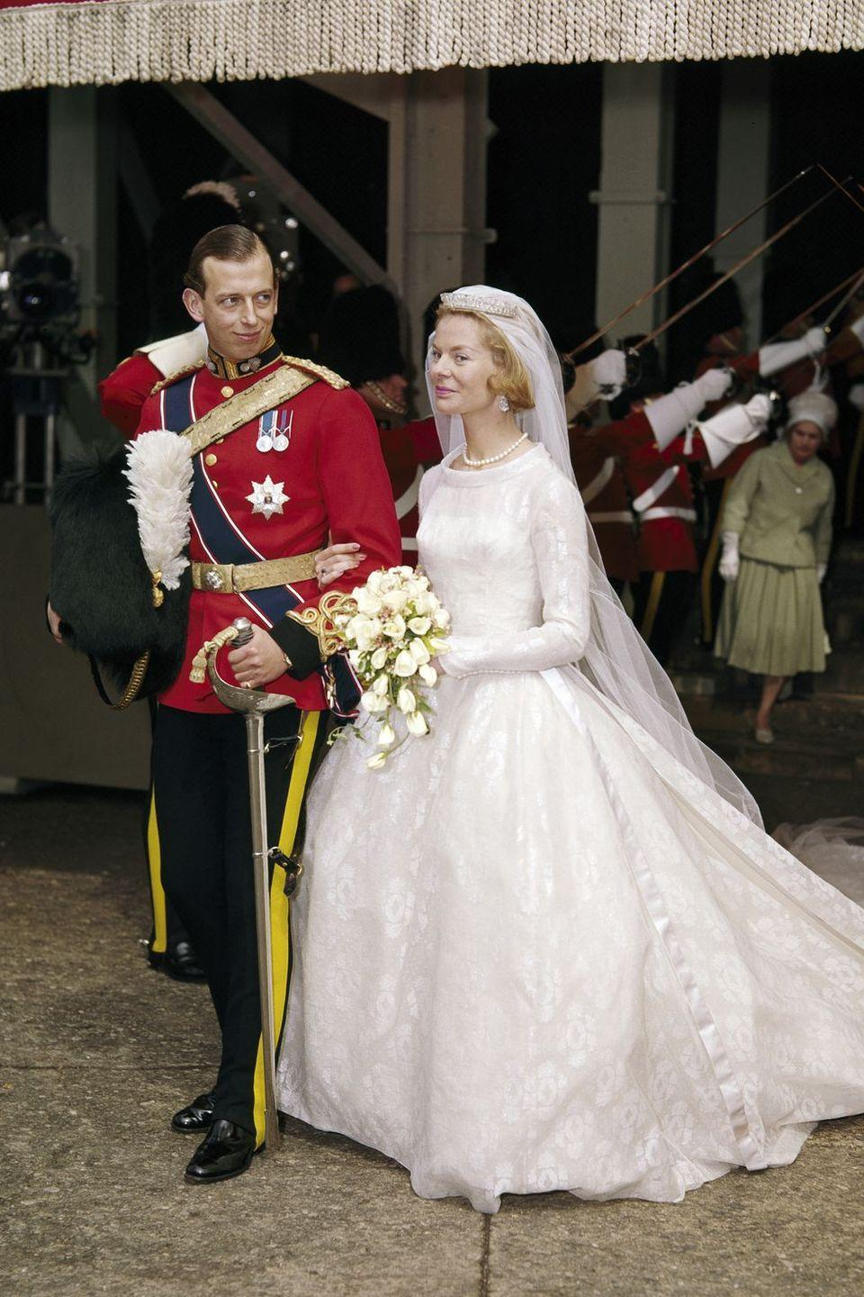 <p><strong>Wedding date: </strong>June 8, 1961</p><p><strong>Wedding tiara; </strong>Katharine, Duchess of Kent wore the Kent Diamond and Pearl Fringe Tiara when she married Prince Edward, Duke of Kent. The tiara had been given to her by her mother-in-law, Princess Marina, and she wore it often. <br></p>