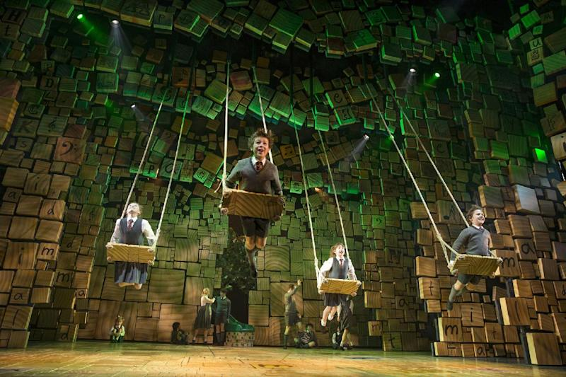 """This theater publicity image released by Boneau/Bryan-Brown shows the cast of """"Matilda The Musical,"""" during a performance in New York. (AP Photo/Boneau/Bryan-Brown, Joan Marcus)"""