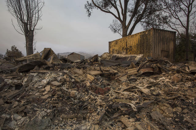 <p>Structures at Rancho Alegre Boy Scouts of America outdoor school are left in ruins after the Whittier Fire swept through on July 9, 2017 near Santa Barbara, California. (David McNew/Getty Images) </p>