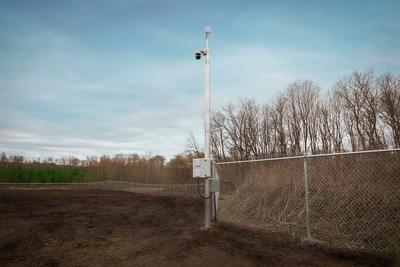 Security fencing and cameras now up at Port Perry Outdoor Grow. (CNW Group/Aleafia Health Inc.)