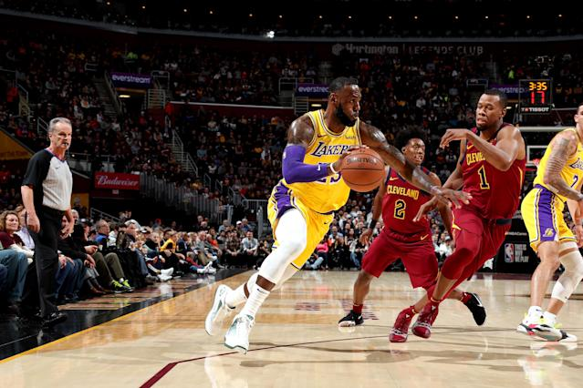 LeBron James handles the ball against the Cavaliers on Wednesday night. (Getty Images)