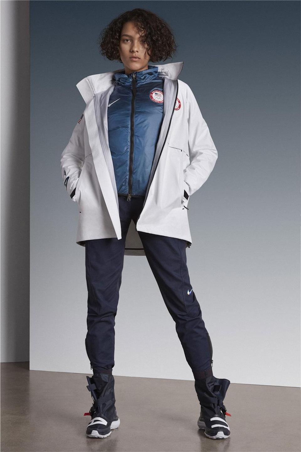 <p>A model sports the women's U.S. Olympic medal stand uniform designed by Nike. (Photo: courtesy of Nike) </p>