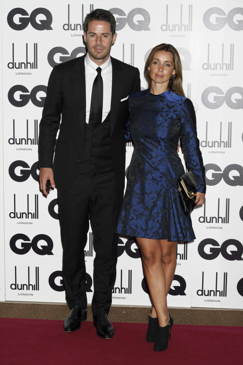 Louise Redknapp and Jamie Redknapp arrive for the GQ Men of the Year Awards at a central London venue, Tuesday, Sept. 4, 2012. (AP Photo/Jonathan Short)