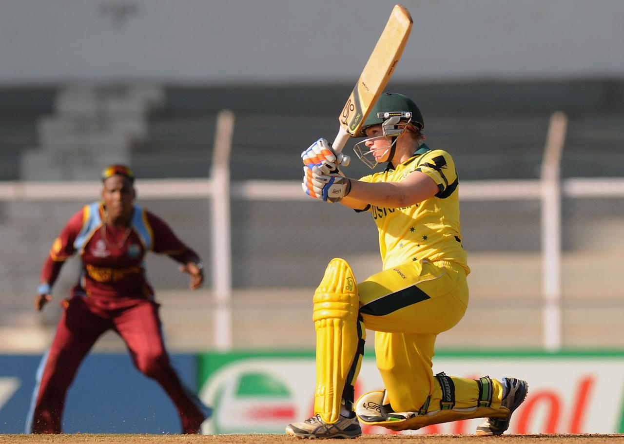 MUMBAI, INDIA - FEBRUARY 17:  Jessica Cameron of Australia bats during the final between Australia and West Indies held at the CCI (Cricket Club of India) stadium on February 17, 2013 in Mumbai, India.  (Photo by Pal Pillai/Getty Images)