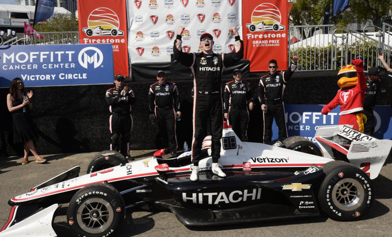 FILE - In this Sunday, March 10, 2019, file photo, Team Penske driver Josef Newgarden (2) of United States celebrates after winning the IndyCar Grand Prix auto race in St. Petersburg, Fla. The US-based series runs the first IndyCar Classic in Austin, Texas this week. Team Penskes Josef Newgarden will be looking for a second consecutive win after taking the season-opening race in St. Petersburg. (AP Photo/Jason Behnken, File)