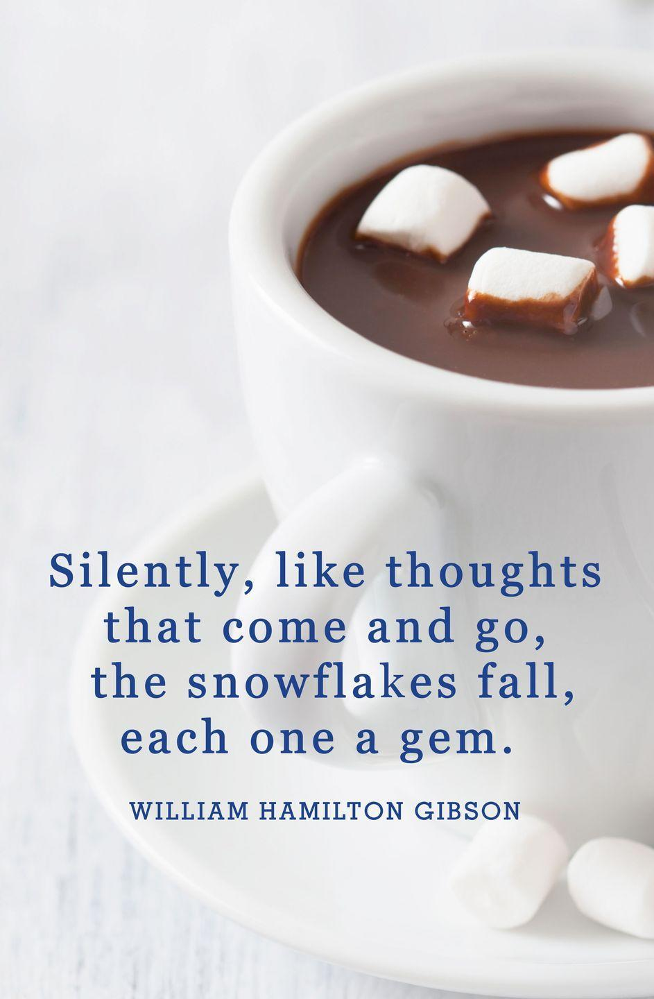"<p>""Silently, like thoughts that come and go, the snowflakes fall, each one a gem.""</p>"