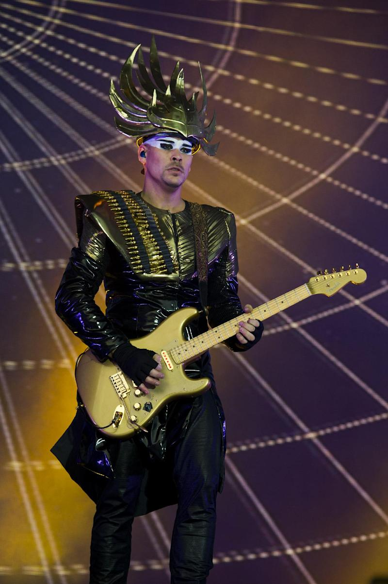 Luke Steele from the band Empire of the Sun performs on day one of the 2013 Budweiser Made in America Festival on Saturday, Aug. 31, 2013 in Philadelphia, PA. (Photo by Charles Sykes/Invision/AP)