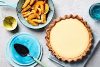 """This cheesecake-like dessert is based on the first-ever recorded pie recipe, written down by ancient Romans. <a href=""""https://www.epicurious.com/recipes/food/views/goat-cheese-honey-and-rye-crust-pie?mbid=synd_yahoo_rss"""" rel=""""nofollow noopener"""" target=""""_blank"""" data-ylk=""""slk:See recipe."""" class=""""link rapid-noclick-resp"""">See recipe.</a>"""