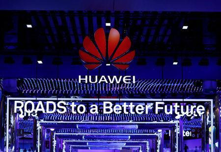 FILE PHOTO: The Huawei stand is seen during the Mobile World Congress in Barcelona, Spain, February 26, 2018. REUTERS/Yves Herman/File Photo