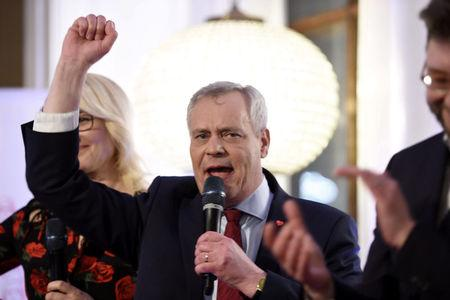 Rinne celebrates the results of the Finland's municipal elections in Helsinki