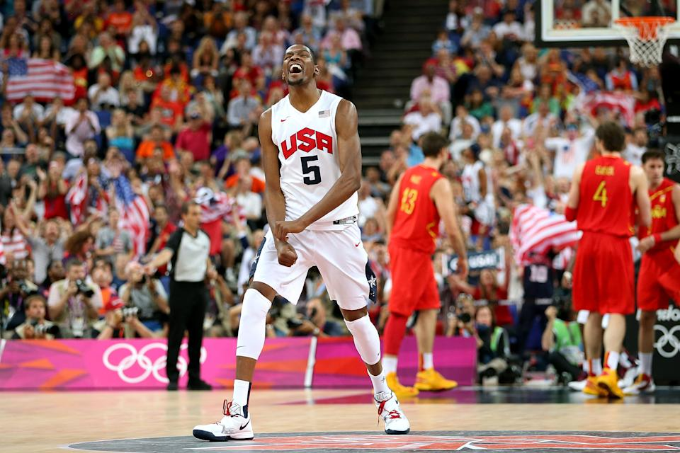 LONDON, ENGLAND - AUGUST 12: Kevin Durant #5 of the United States celebrates a shot during the Men's Basketball gold medal game between the United States and Spain on Day 16 of the London 2012 Olympics Games at North Greenwich Arena on August 12, 2012 in London, England. (Photo by Christian Petersen/Getty Images)
