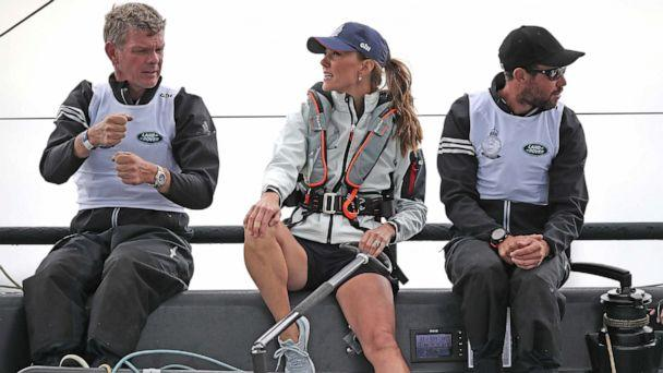 PHOTO: Catherine, Duchess of Cambridge, takes part in the King's Cup Regatta in Cowes, the Isle of Wight, August 8, 2019. (Andrew Matthews/Pool via Reuters)