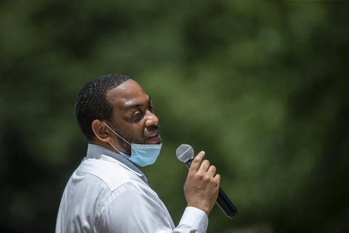 U.S. Senate candidate Charles Booker speaks at a campaign stop at Pikeville City Park in Pikeville, Ky., Monday, June 22, 2020. (Ryan C. Hermens/Lexington Herald-Leader via AP)