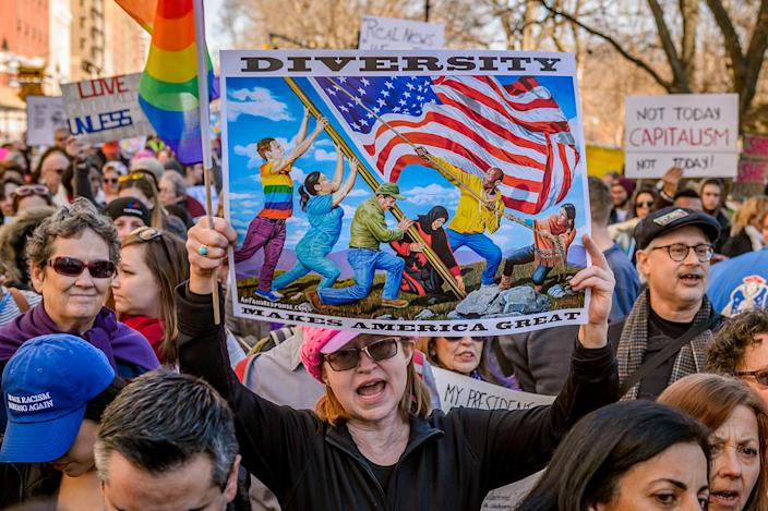 """<p>Protestors hold a """"Not My President's Day"""" rally outside Trump International Hotel and Tower in New York, Feb. 20, 2017. (Photo: Erik McGregor/Pacific Press/LightRocket via Getty Images) </p>"""