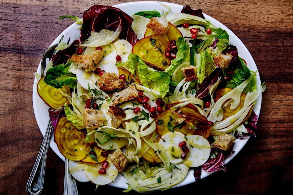 """The mix of lettuces and crisp vegetables is up to you (and we recommend a mandoline for slicing). <a href=""""https://www.bonappetit.com/recipe/crunchy-winter-vegetable-salad?mbid=synd_yahoo_rss"""" rel=""""nofollow noopener"""" target=""""_blank"""" data-ylk=""""slk:See recipe."""" class=""""link rapid-noclick-resp"""">See recipe.</a>"""