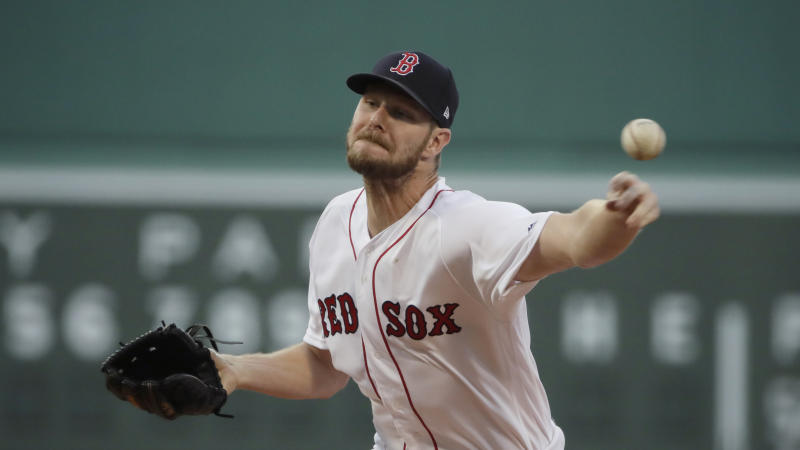 Boston Red Sox starting pitcher Chris Sale delivers to the Los Angeles Angels in the first inning of a baseball game at Fenway Park, Thursday, Aug. 8, 2019, in Boston. (AP Photo/Elise Amendola)