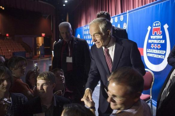 Ron Paul greets supporters after speaking at the Western Republican Leadership Conference at The Venetian hotel-casino in Las Vegas October 19, 2011. (REUTERS/Las Vegas Sun/Steve Marcus)