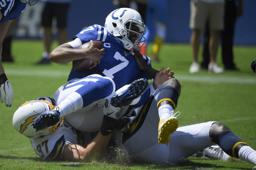 Indianapolis Colts quarterback Jacoby Brissett is sacked by Los Angeles Chargers defensive end Joey Bosa during the first half in an NFL football game Sunday, Sept. 8, 2019, in Carson, Calif. (AP Photo/Mark J. Terrill)