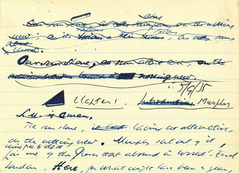 "An undated photo made available by Sotheby's showing part of a set of Samuel Beckett jotters. Sotheby's says the manuscript of Irish writer Samuel Beckett's first novel has sold at auction for almost 1 million pounds ($1.5 million/1.160.280 euro).Britain's University of Reading bought ""Murphy,"" written in 1935-36, for 962,500 pounds ($1.4 million/1.116.770 euro) at Wednesday's sale. The six exercise books contain the heavily reworked text of the novel as well as notes, doodles and sketches of figures including James Joyce and Charlie Chaplin. (AP Photo/Sotheby's)"
