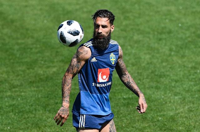 Sweden midfielder Jimmy Durmaz trains in Gelendzhik, Russia, during the 2018 World Cup (AFP Photo/Jonathan NACKSTRAND)